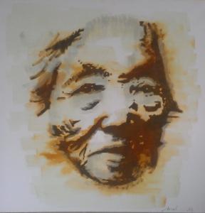 Mélanie Brochet, vieille femme japonaise, 80 x 80 cm,2013