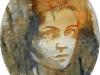 Mélanie brochet, jeune fille, toile ovale sur châssis, 40x50cm, 2012